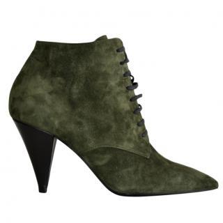 Saint Laurent Khaki Suede Lace-Up Ankle Boots