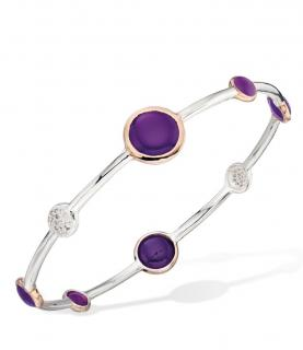Elements pink Agate rose gold and silver plate bracelet