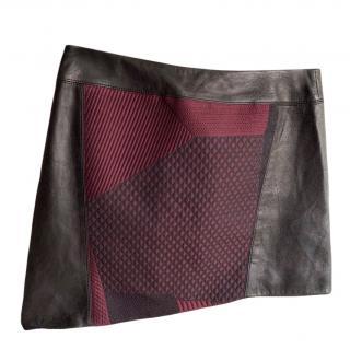 Helmut Lang asymmetric faux leather panelled mini skirt