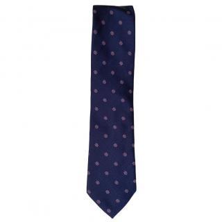 Moschino Navy Floral Silk Tie