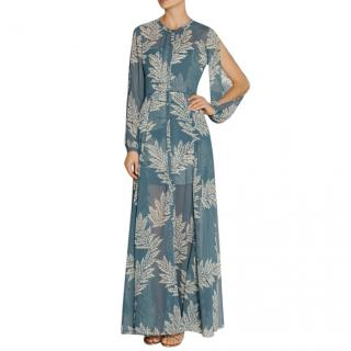Sass & Bide Blue The Power Hour Printed Georgette & Jacquard Dress