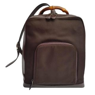 Gucci Brown Leather Vintage Bamboo Backpack