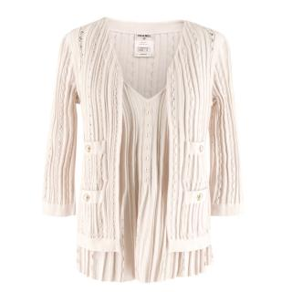 Chanel Blush Pleated Knit Twinset