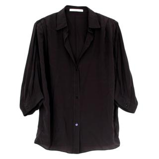 Givenchy Navy Draped Silk Blouse