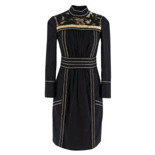 Prada black embroidered high neck dress