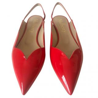 Mulberry Kate Scallop Slingback Red Patent Flats