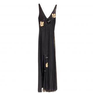 Versace Jeans Couture Black Floral Embroidered Gown