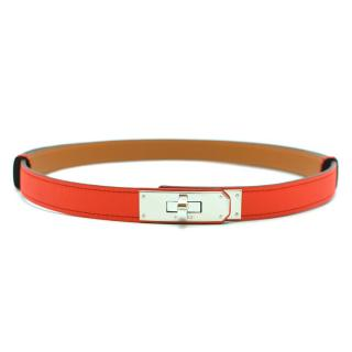Hermes Rouge Tomate Epsom Leather Kelly Belt PHW