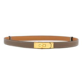 Hermes Etoupe Epsom Leather Kelly Belt GHW