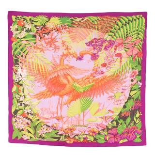Hermes Silk scarf 90 in Flamingo Party Print