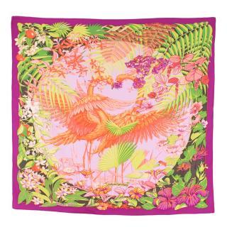 Hermes Silk scarf 90 in Flamingo Party Print
