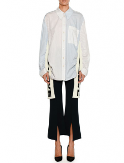Stella McCartney Striped Button-front Shirt W/ All Is Love Knit Sides