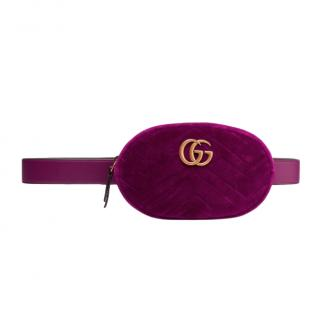 Gucci Plum GG Marmont quilted velvet belt bag