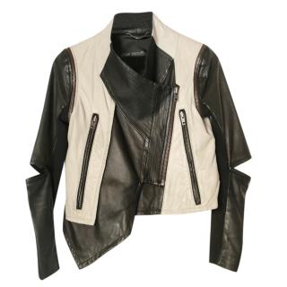 Yigal Azrouel beige/black leather buttery leather jacket