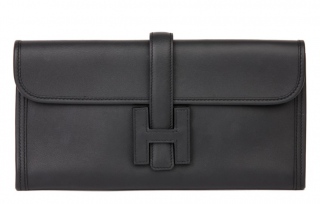 Hermes Black Swift Leather Jige Elan Clutch Bag