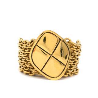 Chanel Gold Tone Cross Pendant Mesh Bracelet