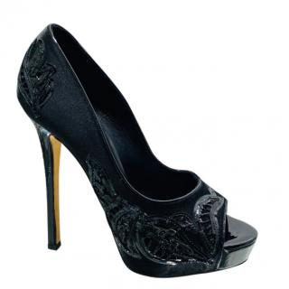 Ermanno Scervino Satin Embroidered Peep-Toe Pumps