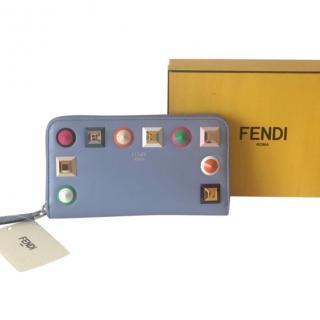 FENDI Leather Rainbow Stud Blue Zip Wallet