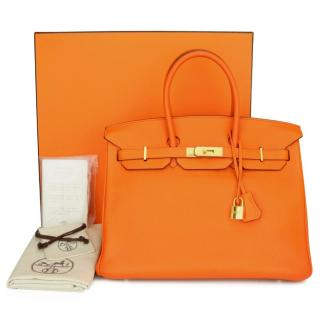 Hermes Orange Togo Leather Birkin 35 GHW