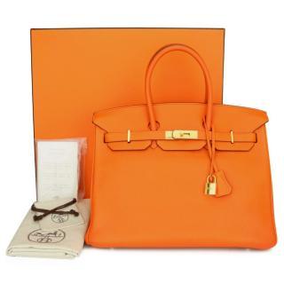 Hermes Orange Togo Leather Birkin 35 GHW