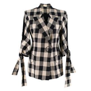 Petar Petrov Beige & Black Check Tie Cuff Jacket