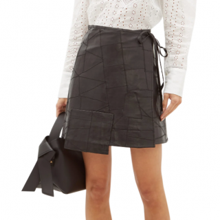 Ganni Patchwork leather wrap skirt