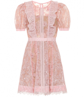 Self Portrait Pale Pink Floral-lace minidress