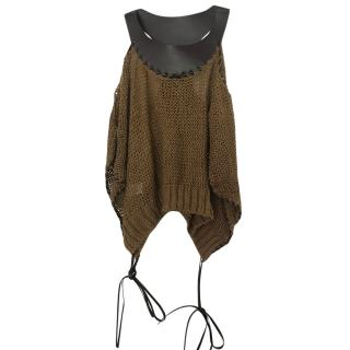 Alberta Ferretti Linen Knit Jumper With Leather Collar