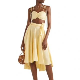 Miguelina Gracie Gathered Linen Bralette in Pastel Yellow