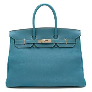 Hermes Togo Leather Blue Jean Birkin 35 PHW