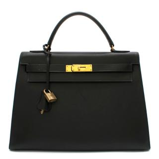 Hermes Black Vintage Box Leather Kelly Sellier 32 GHW