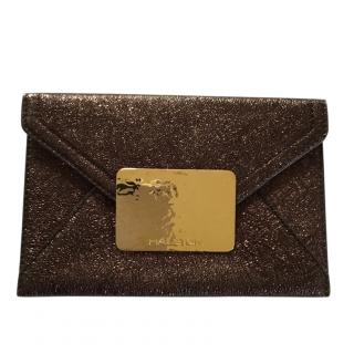 Halston metallic envelope clutch
