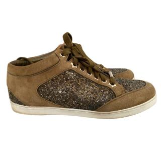Jimmy Choo Olive Green Glitter Low Top Sneakers