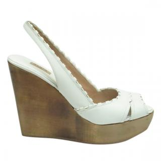Alaia White Leather Slingback Wedge Sandals