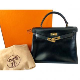 Hermes VIntage Black Kelly 28 in Swift Leather GHW