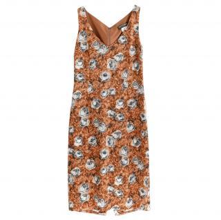 Collette Dinnigan Printed Brown Midi Dress