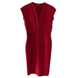 Agnona Virgin Wool Red Fitted Dress