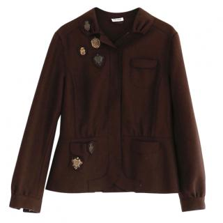Miu Miu Plum Felted Wool Blend Embellished Jacket