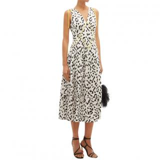 Self-Portrait leopard print jacquard sleeveless dress