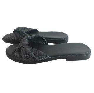 Sigerson Morrison Snakeskin Flat Sandals