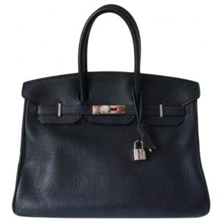 Hermes Togo Leather Blue Indigo Birkin 35 PHW