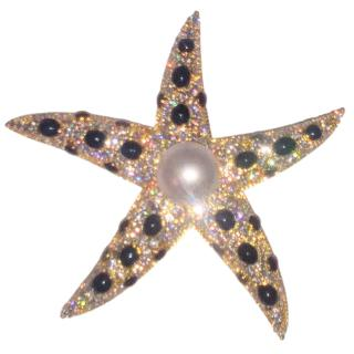 Bespoke Crystal & Pearl Embellished Starfish Brooch