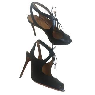Aquazzura Black Cut-Out Leather Sandals