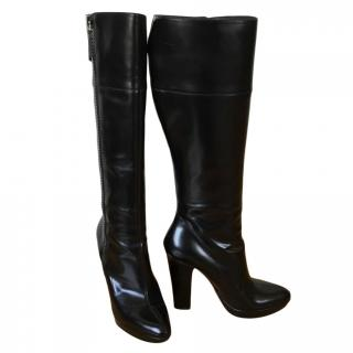 Gucci glossy black leather knee high boots