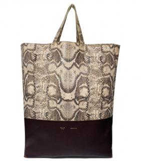 Celine by Phoebe Philo Vertical Python/Leather Cabas Tote
