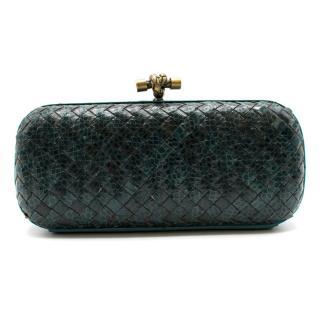Bottega Veneta Turquoise Intrecciato Leather & Snakeskin Knot Clutch
