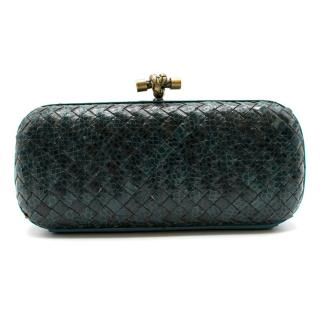 Bottega Veneta Turquoise Intrecciato Leather & Snakeskin Knot Clutch