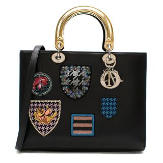Dior Black Lady Dior Patch Embellished Tote Bag
