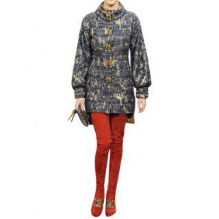 Chanel Paris/Byzance Blue & Gold Metallic Tweed Brocade Coat
