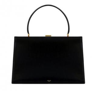 Celine Black Leather Medium Clasp Bag